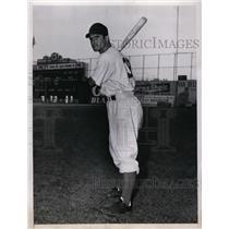 1946 Press Photo Joe Tepslo Brooklyn Dodgers outfielder for World Series