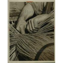 1933 Press Photo A service for blind people making brooms in a workshop