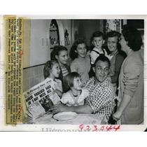 1949 Press Photo Joe Sloka Soft Coal Miner & Wife Naomi with Their Children