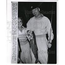 1958 Wire Photo Actor James Stewart on first catch 8 1/2 pound bonefish