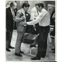 1970 Wire Photo Passenger frisked before boarding British Overseas flight