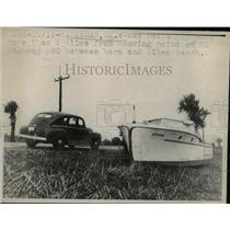 1947 Press Photo Boat Rests 2 Miles from Tibee Beach Savannah Georgia