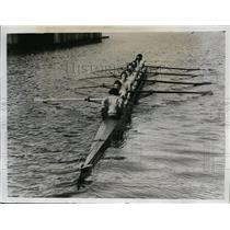 1934 Press Photo Oxford ladies crew training on river at Oxford England