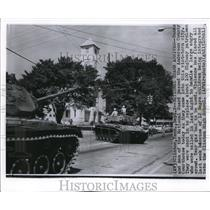 1956 Wire Photo The tanks of the National Guard at the Anderson County riots
