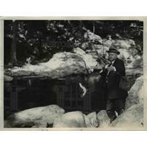 1936 Press Photo President Herbert Hoover During Fishing Trip - nee65458