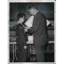 1960 Press Photo Chairman Paul Stevens pin his Boy Scout son Paul Jr.