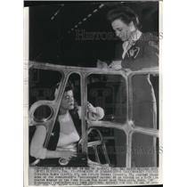 1943 Wire Photo V.Almes and E Greeco Inspect Framework of Bombardier's Greenhse
