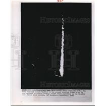 1958 Wire Photo Navy Vanguard rocket tumbles trailing flames after exploding