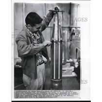 1958 Wire Photo Satellite Explorer III readied in Lab before launch - cvw09339