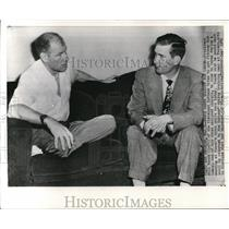 1949 Wire Photo Cleveland Indians Pres. Bill Veeck and Pitcher Bob Lemon