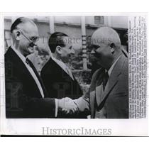 1955 Wire Photo Soviet Union Communist boss Nikita Khrushchev & J. Riddleberger
