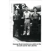 1993 Press Photo George Bush as pilot on the aircraft carrier San Jacinto