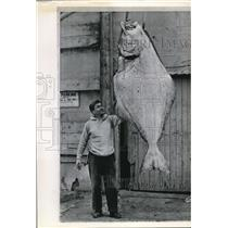 1965 Wire Photo Herbie Dubois with the 40 pounds halibut he caught - cvw09246