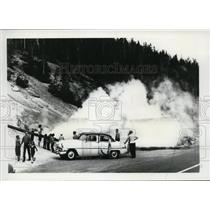 1963 Press Photo Yellowstone steaming geyser - spa01288