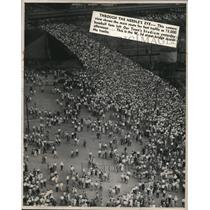 1948 Press Photo Baseball fans leave the Our Town Stadium at the baseball games.