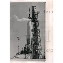 1963 Wire Photo Atlas Rocket bearing Faith 7 flowedat Cape Canaceral Fla.