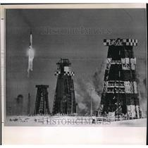 1962 Wire Photo Atlas rocket moves skyward from its launch pad at the Cape