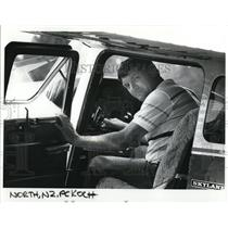 1985 Press Photo Fred Koch in cockpit of his Cesna plane - ora52113
