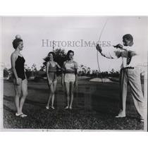 1934 Press Photo Golfer Olin Dutra, Mrs Dutra, Jane Wilcox, Helen Lysinger in Fl
