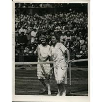 1927 Press Photo Miss E de Alvarez vs Miss Ryan at Wimbledon tennis - nes42636