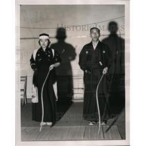 1940 Press Photo Tatsugoro Okajina & Miss Isao at Japanese ceremonial archery