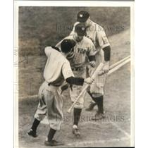 1938 Press Photo New York Yankee Players Congratulated at the Plate - cvs01778