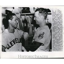 1954 Press Photo Bob Lemon and Bob Avila Cleveland Indians in Detroit MLB