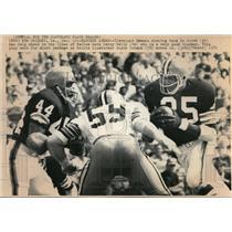 1971 Press Photo Bo Scott, Leroy Kelly & Wayne Colman in Browns & Saints Game