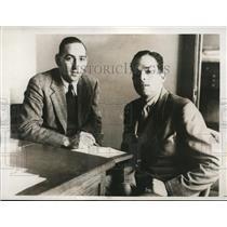 1932 Press Photo Alberto Zorilla Argentine swim & Al Parmenter at LA Olympics