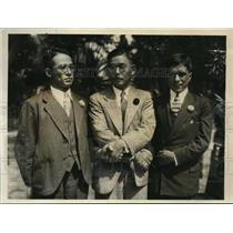 1931 Press Photo Goichiro Shurayama, swimmer Ken Nakazawa, Soichiro Tsuda in L.A