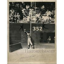 1960 Press Photo Jim Lemon of Nats grabs fly ball of White Sox Roy Sievers