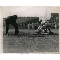 1937 Press Photo Keller Out at 3rd Base During First Little World Series