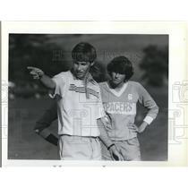 1982 Press Photo Lakeridge Coach Ken Marshall and racer sweeper Melissa Othman