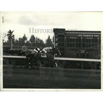 1937 Press Photo J Stout on Sweep Like in Cops handicap at Hialeah Florida