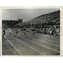 1932 Press Photo Jimmy Owen in 100 yard dash at meet in Chicago