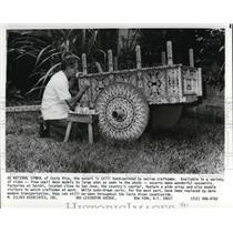 1981 Press Photo Oxcart hand-painted by native craftsmen in Costa Rica