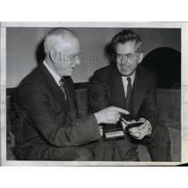 1944 Press Photo Clark Griffith presents Henry Wallace with annual baseball pass