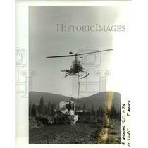 1985 Press Photo Helicopter hovers overhead - orb15043
