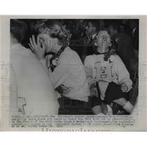 1955 Press Photo Cincinnati Hughes Cheerleaders Crying After Basketball Loss