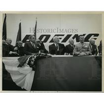1966 Press Photo William M Allen, pres Boeing at opening of Helicopter facility