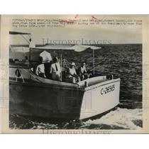 1949 Press Photo President Truman And Brig. Gen. Robert Landry Fishing