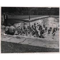 1951 Press Photo Garfield Heights Bike Brigade members at Garfield Park Pool