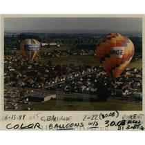 1988 Press Photo Two balloons taking off from Tigard High School for a trial run