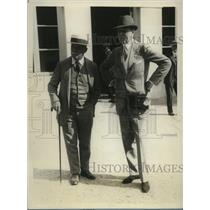 1928 Press Photo Owner Joseph Widener, trainer JH Lewis after Brook Steeplechase
