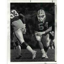 1987 Press Photo Mike Junkin works against Anthony Greggs during Browns practice