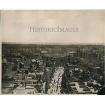 1930 Press Photo Aerial view of Madrid, Spain showing Arts Club, Post Office