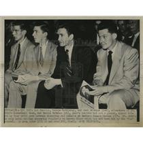 1951 Press Photo St. John's players watch Manhattan - LaSalle basketball game