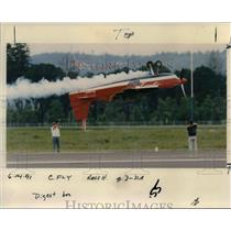 1991 Press Photo Pilot Wayne Handley flies his Raven at Hillsboro Airport