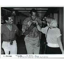1991 Press Photo Ramon Ramos Jr, Ramon Rsamos Sr. with Charlene Hodges
