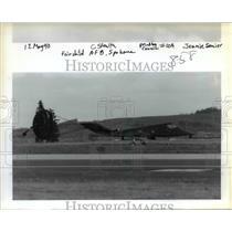1990 Press Photo A stealth fighter plane at Spokane's Air Force Base - ora98891